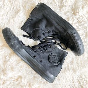 All Black Converse High Top Shoes